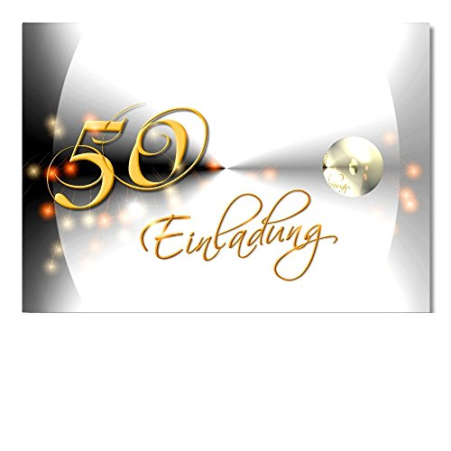 DigitalOase 2 Einladungskarten 50. Geburtstag MIT INNENTEXT 50. Jubiläum Geburtstagskarten 2 Klappkarten 2 Kuverts Format DIN A6#YANG