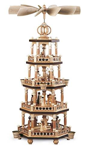 Tafelpiramide tafelpiramide heilige geschiedenis 4-verdiepingen natuur (LxBxH): 27x27x64cm NIEUW tafeldecoratie decoratie kerstmis warmte-spel lichten figuur edelhout zeep ertsgebergte hout kaarsen
