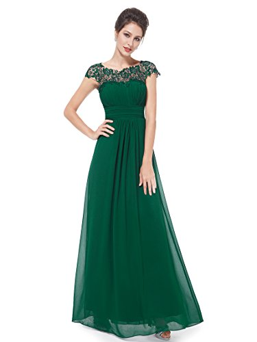 Ever-Pretty Womens Elegant Lace Neckline Ruched Bust Wedding Party Dress 22 US Green