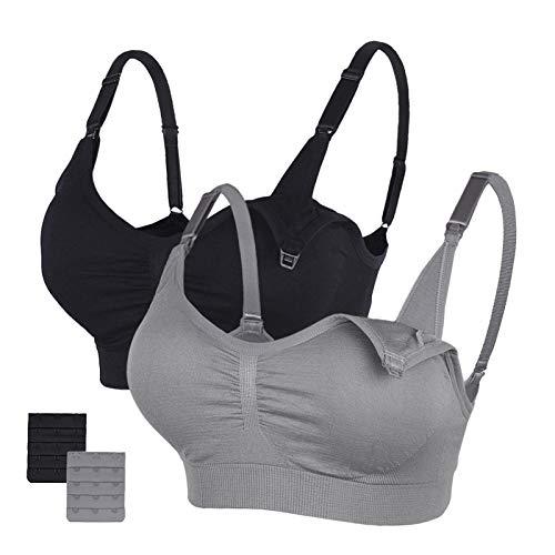 STELLE Body Silk Seamless Maternity Nursing Bra with Pads, Extenders & Clips (Black+Gray, XL)
