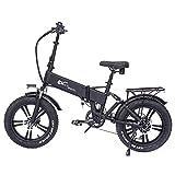RX20 750W Bicicleta eléctrica Plegable 20 * 4.0 Bicicleta de montaña con neumáticos Gruesos 48V E-Bike Suspensión Completa (Black, 15Ah)