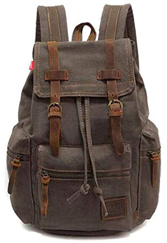 Strings Canvas Leather Backpacks Large Capacity Traveling Rucksacks Students Laptop Daypacks Army Green