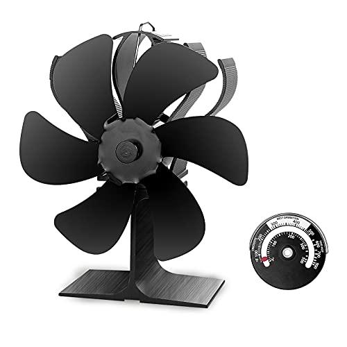 Rumia - Ventilador de estufa de 6 aspas, funciona con calor, con termómetro, no eléctrico, para estufas de gas, pellets, leña, 80% más de aire caliente que un ventilador de 4 aspas