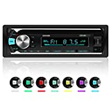 Car Stereo Bluetooth, XYFANG Car Radio Bluetooth Hands-Free with USB/TF/AUX, 4x60W Single Din Car Stereo with Wireless Remote Control and 7 LED Colors, Support IOS and Android