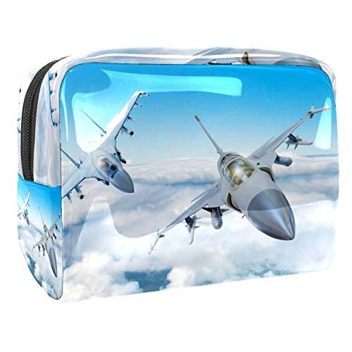 Trousse de maquillage multifonction pour les produits de toilette de voyage - Pour femme - Avion militaire - Ciel