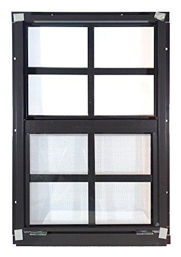 "Shed Windows 12"" W x 18"" H - Flush Mount w/Safety Glass - Playhouse Windows (Brown)"