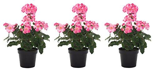 DARO DEKO Kunst-Blume Geranie stehend 3 Stück rosa
