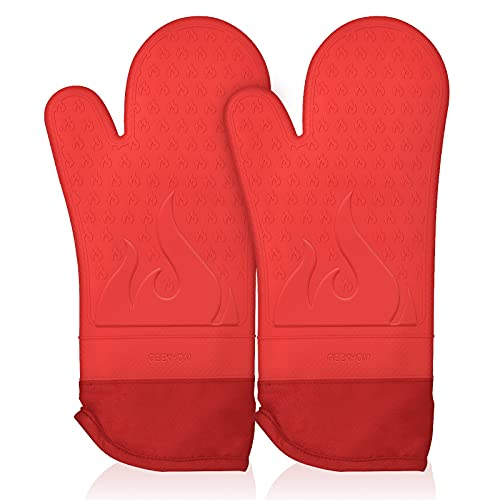 GEEKHOM Extra Long Silicone Oven Mitts Heat Resistant with Quilted Liner, 15 Inches Kitchen Mittens, 500 F Hot Mitt Non Slip Flexible Gloves Potholders for Cooking Baking, 2 Pack, Red