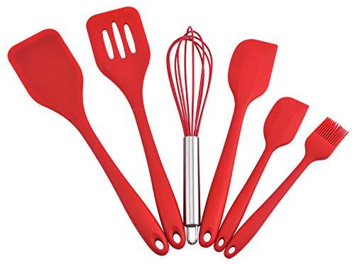 Gullor Juego de utensilios de cocina de silicona para hornear, cuchara de cocina, espátula, batidor, cepillo, raspador, 6 piezas, color rojo