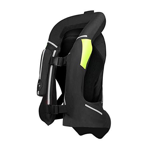 ZZJCY Chaleco Airbag Profesional para Motocicleta, Chaleco Airbag con Tira Reflectante para Motocross, Chaqueta Airbag Moto, Protege Espalda, Cintura, Caderas, Vértebras Cola,Negro,L
