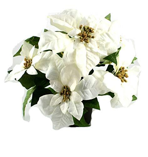 P.Shop Christstern Weihnachtsstern künstlich Dekopflanze Weiß H: ca. 34 cm