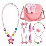comius sharp girls princess borse, gioielleria per bambini bambine simpatiche borse, in peluche con collana bracciale anello e orecchini set , borsetta da principessa per vestire fingere (pink)