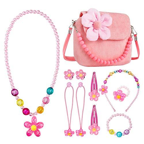 Mädchen-Handtasche,Comius Sharp Kinderschmuck Kleine Mädchen Plüsch-Handtasche, mit Halskette Armband Ring und Ohrring Schmuckset, Prinzessinnen-Design, modisch,Blumenmuster, Handtasche (pink)