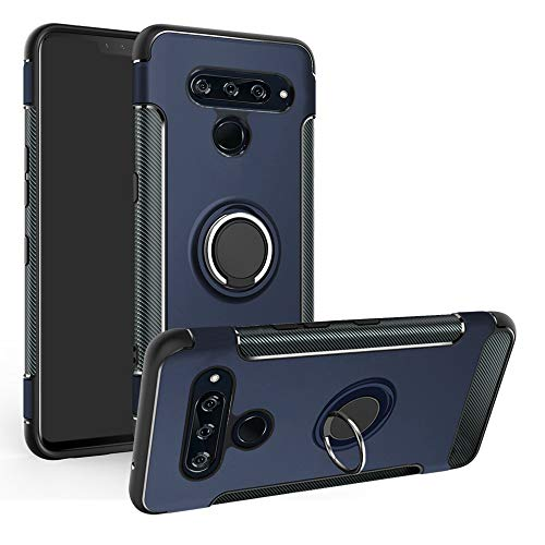 Labanema LG V50 ThinQ 5G Hülle, Ring Kickstand 360 Grad rotierenden Fingerring Grip Drop Schutz Stoßdämpfung Weichen TPU Cover für LG V50 ThinQ 5G - Blau