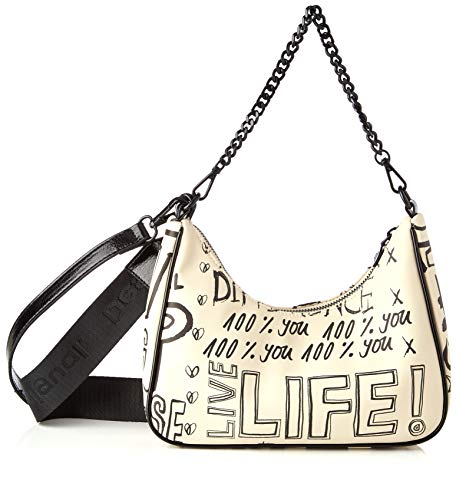 Desigual PU Shoulder Bag, Bolso Bandolera. para Mujer, Blanco, U