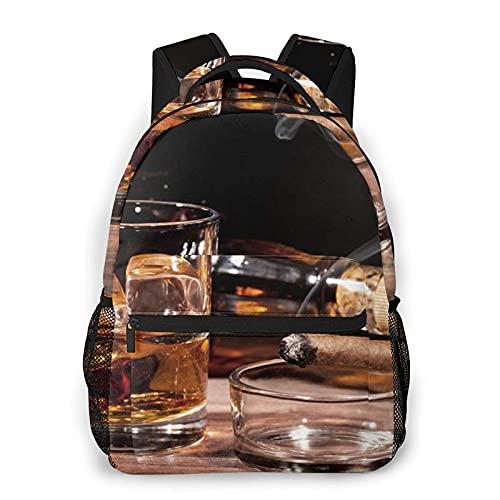 DJNGN Mochila informal con estampado de imagen de whisky y cigarrillo, mochila clásica para viajar con bolsillos laterales para botellas
