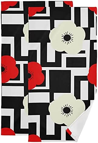 Hand Towel Weekly update Poppy Max 44% OFF Flowers Geometric Set S Cotton Towels 2 of Face