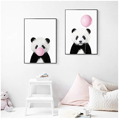"""NIEMENGZHEN Baby Panda Print Tier mit Kaugummi Poster Kinderzimmer Wandkunst Bild Dekor niedlichen rosa Ballon Baby-Dusche Leinwand Gemälde 11,8""""x 15,7"""" (30x40cm) x2 ohne Rahmen"""