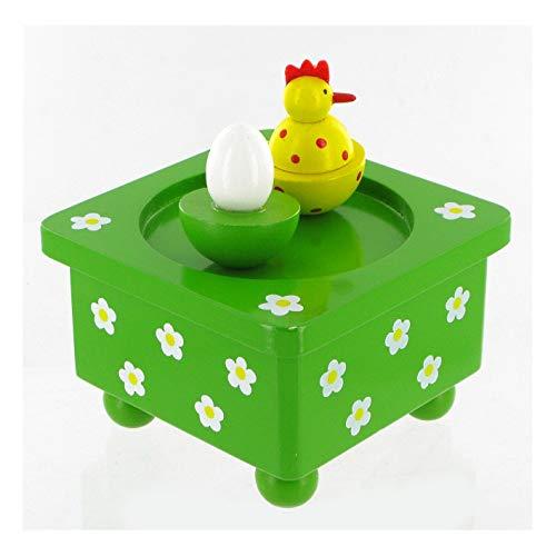 Lutèce Créations Boîte à Musique animée en Bois pour la Petite enfance avec Figurines Poule et Oeuf (Réf : 43824) - Boîte à Musique Easter Parade