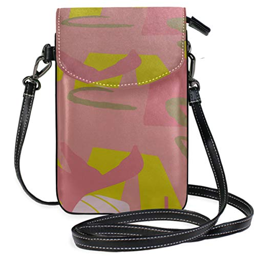 Leather Multi Zipper Crossbody Purse Art Fashion Block Line Graffiti Print Hand Phone Purse Purse Phone Holder Purse Wallet Travel Passport Bag Handbags For Women