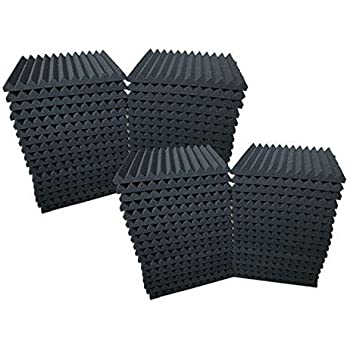 """48 Pack Acoustic Foam Panel Wedge Studio Soundproofing Wall Tiles 12"""" X 12"""" X 1"""""""