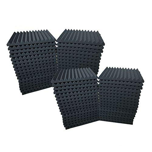 """48 pièces de mousse acoustique pour studio. Panneaux muraux de 2.5 x 30 x 30 cm 1"""" x 12"""" x 12"""" noir"""