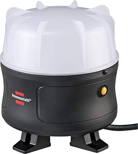 Brennenstuhl Mobiler 360° LED Strahler / LED Baustrahler 50W (Arbeitsleuchte 5000lm, 5m Kabel und spritzwassergeschützte Steckdose mit selbstschliessendem Deckel, LED Bauscheinwerfer für außen, IP54)