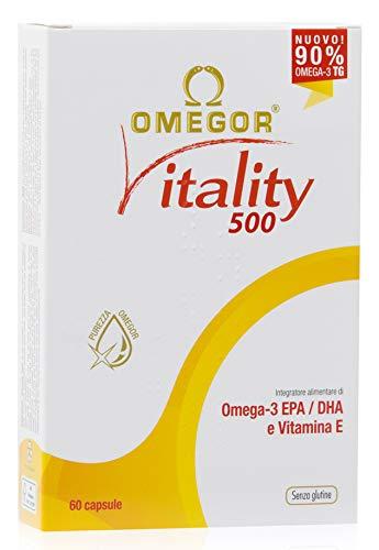 Omega 3 OMEGOR® Vitality 1000-90% di Omega-3 TG! Certificato IFOS dal 2006. 400mg of EPA e DHA per capsula in rapporto 2:1. Struttura min. 90% Trigliceridi e distillazione molecolare | 60 cps da 500