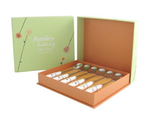 Aynsley - Set di cucchiai da tè, Manico in Porcellana fine, 15cm, Motivo ad Anatre e Fiori, 6 pz, Bianco