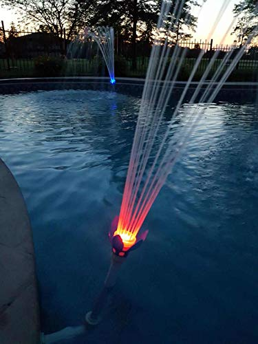 """MAGIC POOL FOUNTAIN - Dual Pack Includes 2 Complete Fountains. Water Powered, Installs in Seconds by Hand in Standard 1.5"""" Pool Jet, No Tools Required, Bright LED Lights."""