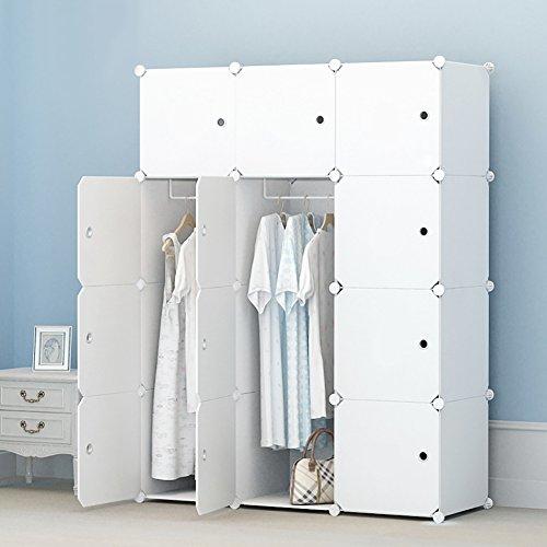 PREMAG Armario portátil para colgar la ropa, ropero combinado, Armario modular para...