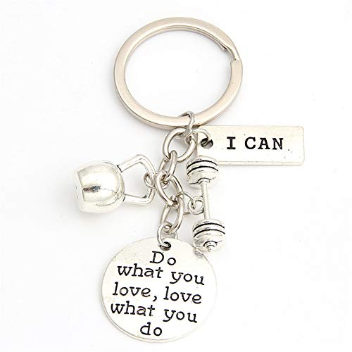 N/ A 1pc Ik kan sleutelhanger gewichtheffer sleutelring lange halter gewicht Charms Fitness sieraden geschenk voor lifter Strong man