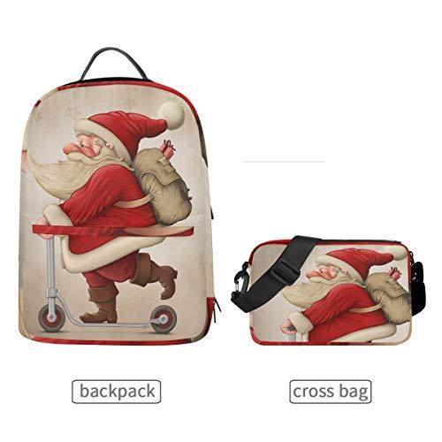 DEZIRO Kerstman En De Push Scooter Boekentas met Cross Bag set Rugzakken
