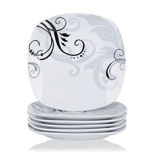 VEWEET Porzellan Speiseteller 'Zoey' 6-teilig Set | Durchmesser 24,7 cm | Ergänzung zum Tafelservice 'Zoey' | Essteller für 6 Personen
