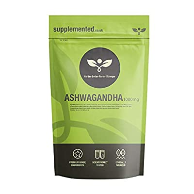 Ashwagandha Extract 1000mg 180 Tablets UK Made. Pharmaceutical Grade Supplement, Mood Stress