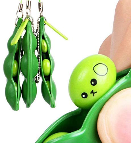 Cheapest Prices! DEESEE(TM) Squeeze Bean Stress Relief Fidget Bean Squishies Toys Keychain Improve F...