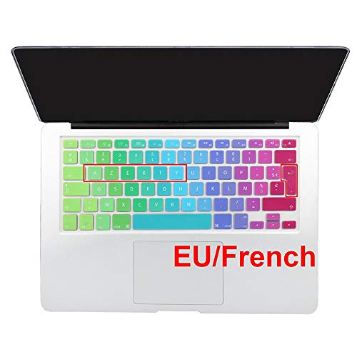 HOUBL Gradient Color Silicone French AZERTY Spanish Keyboard Cover Skin For Macbook Pro 13' 15' 17' Air 13' imac Wireless keyboard (EU French Rainbow)