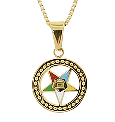 Mason Zone Order of The Eastern Star Necklace Pendant - Gold Color Steel with OES Symbol (Regular)