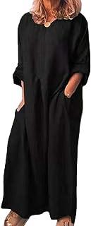 Shallood Abito Donna Vestito Maniche Corte Rotondo Collo Sciolto Casual Estivi Maglietta Camicetta Allentata Abiti 03 Nero