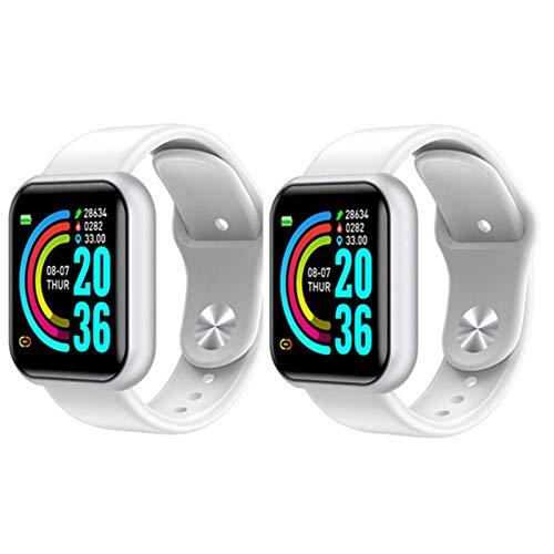LYB Reloj inteligente Bluetooth para hombre, resistente al agua, podómetro, pulsera inteligente, presión arterial, monitor de ritmo cardíaco, para iOS Android (color: plata y blanco 2 unidades)