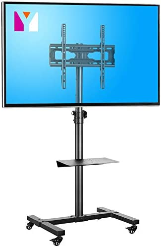 Mobile TV Cart Rolling Floor Stand with Mount on Lockable Wheels Height Adjustable Shelf Trolley product image