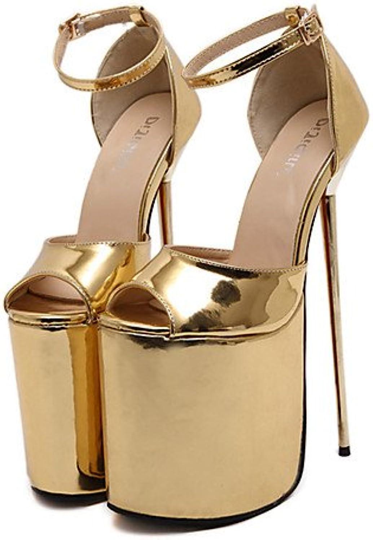 GGX  Damen-High Heels-Kleid   Party & Festivitt-Lackleder-Stckelabsatz-Abstze   Zehenfrei   Plateau-Silber   Gold