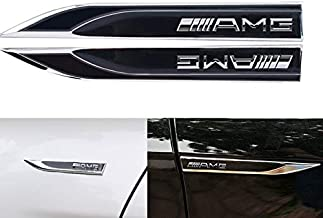 1 Pair Metal 3D OEM car Emblem Badge Decal Auto Door Fender Side Chrome Sticker for Mercedes Benz AMG Class C E ML/GLA/GLC (Black)
