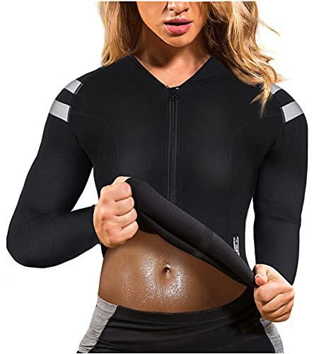 Womens Neoprene Body Shaper Hot Sweat Tummy Slimmer Workout Jacket Top Full Zip...