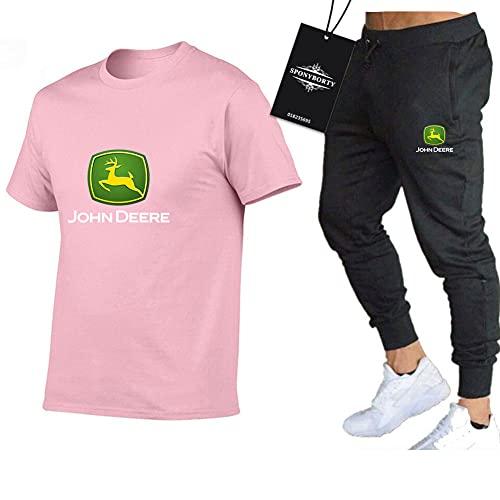 Jasmin Busse Hombres Y Mujer Camiseta de Manga Corta Chandal Conjunto por Jo.hn-De.ere Dos Piezas Largo Manga Tee Pantalones Ropa Deportiva Parte Superior Sudadera Deportes/pink/L