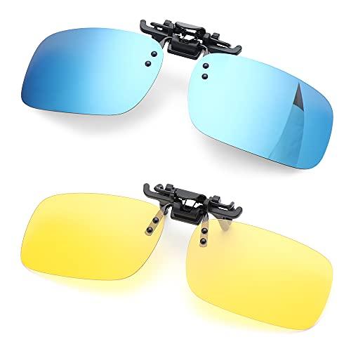 genenic 1/2 Pcs Filp Sonnenbrille Clip/ Nachsichtbrille für Brillenträger Herren Damen, Polarisierte Sonnenbrille angeklippt Flip zum aufstecken, Sonnenclip, über Brillen Gläser
