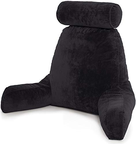 Husband Pillow - Black, Big Backrest Reading Bed Rest Pillow with Arms, Plush Memory Foam Fill,...