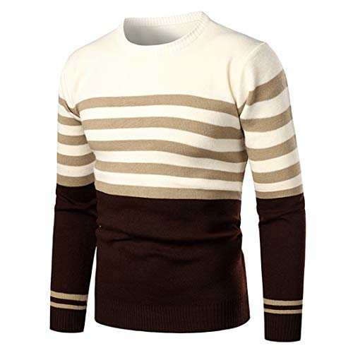 Men's Sweatshirt Round Neck Long-Sleeved Basic Slim Fit Striped Patchwork Pullover Light, Breathable Fine Knit Top New, Modern All-Match Jogging Blouse M