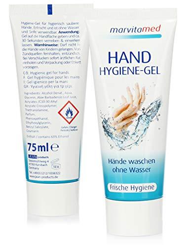 marvitamed 2X Hygiene Handgel in der Tube - Hand Hygiene-Gel für Mobile Handreinigung ohne Wasser für unterwegs - 75 ml je Tube