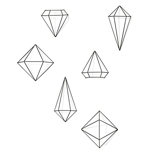 Umbra Prisma Geometrische Wanddekoration – Deko zum Aufhängen an Wand und Decke oder als Tischdekoration Verwendbar, Set mit 6 Prisma Hälften, Metall / Schwarz